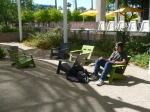 """rrix takes a rrrrrrest in the rrrrrelaxing lounge chairs outside the Memorial Union. He's thinking, """"zomg, I will be a student here soon!"""""""